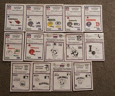 (14) Pretty Punch Color Coded Transfer Pattern Punch Embroider Craft NFL MLB +