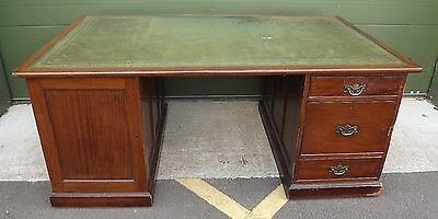 Vintage Mahogany Large Double-Sided Twin Pedestal Partners Desk - 6Ft Wide