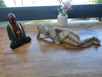 Vintage Wood Carved Buddhist Monk in Meditative State & Reclining Buddha