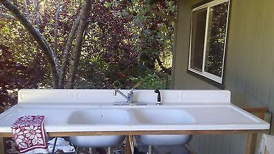 Vintage Cast Iron Porcelain Farmhouse Double Sink Drainboards