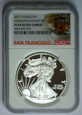 2017-S NGC PF69 PROOF Silver Eagle Trolley Label Congratulation Set