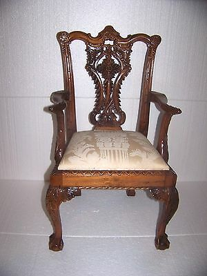 Vintage Hand Carved Solid Wood Ornate Ball & Claw Childs or Doll Chair Lot 1