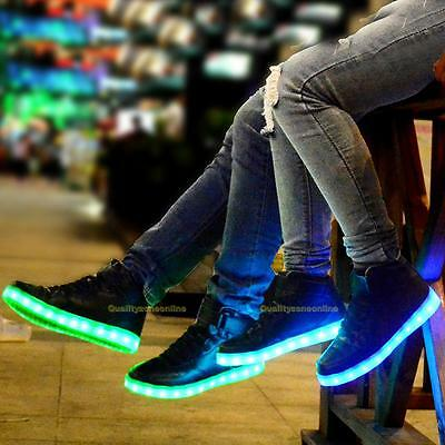 Unisex LED High Top Light Up Shoes Luminous Casual Sportswear Sneaker Adult New