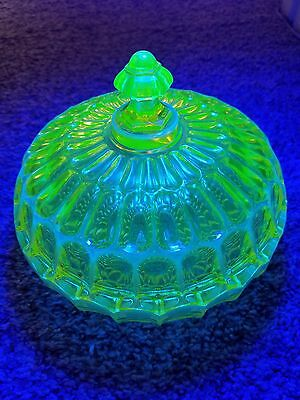 Vintage Vaseline Uranium Glass Large Candy Dish Compote with a Lid