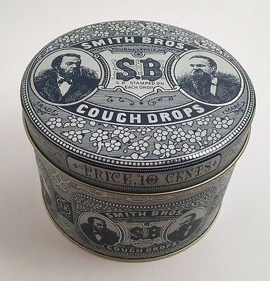 Vintage Smith Brothers Cough Drops Tin Box Co. Round Metal Container SB Bros.