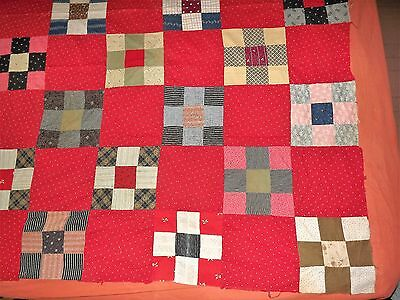 Antique Quilt Top Nine Patch 1880 to 1910 Era RED 48x71