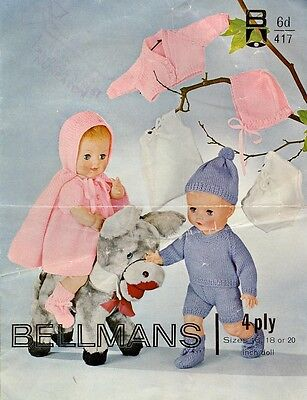 Vintage Baby Dolls Knitting Pattern copy 4 ply 16-20 ins dolls