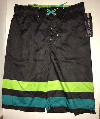 Cherokee Boys Black Multicolor Swim Trunks Shorts Size XL 16 UPF 50+