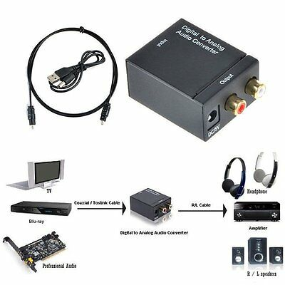 Digital Optical Coaxial Toslink Signal to Analog Audio Converter Adapter RCA AU