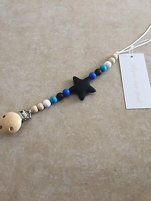 Babies,Teething,Silicone bead,Star,Black,Blue,Wooden bead,Pacifier clip