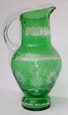 """Cut Crystal Green to Clear Pitcher  12"""" tall STUNNING"""