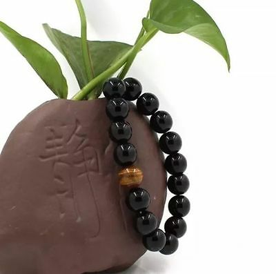 Men's Women's Jewelry Natural Black Agate Tiger Eye Beads Bangle Bracelet