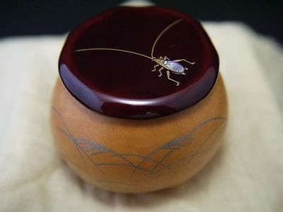 Japanese Lacquer Wooden Tea Caddy The Bell Cricket makie Gourd Natsume (704)