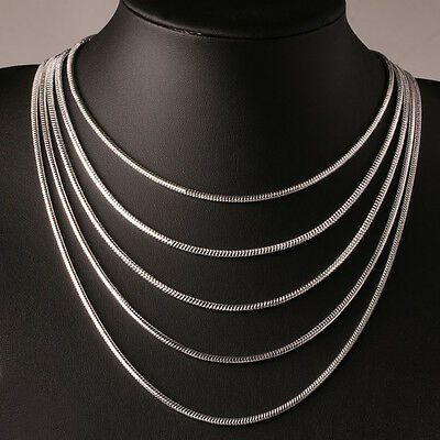 "2mm Silver Sterling 925 Snake Chain Necklace Length 16"" 18"" 20"" 22"" 24"" UK Stock"
