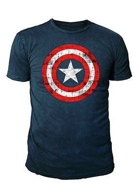 Marvel Comics - Captain America Herren Shield T-Shirt  (Navy) (S-XL)
