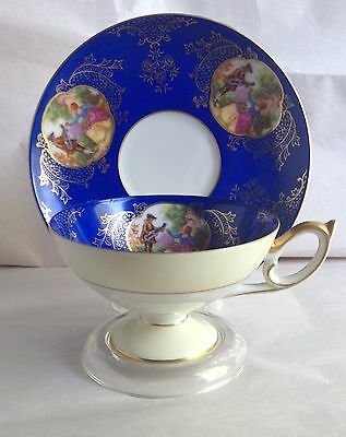 Cup and Saucer Cobalt Blue Mid Century Del Mar Hand painted Japan EUC!