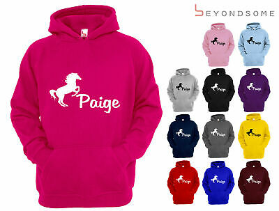 Personalised Horse Riding Childrens Hoodie Girls Boys Hoody Gift Equestrian