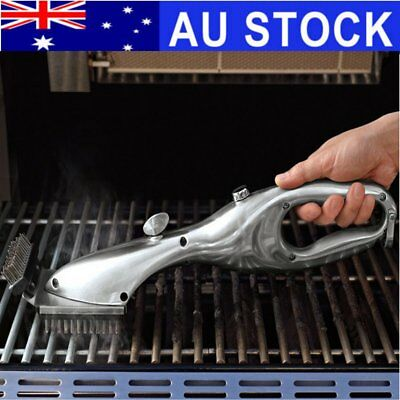 Double Side Stainless Steel Grill Steam BBQ Barbecue Picnics Cleaning Brush Tool