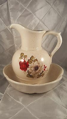 McCoy Pottery White Pitcher and Bowl Set USA 7541 and 7528