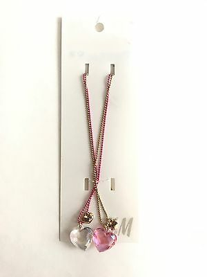 Girls Kids H M H&M BFF Best Friends Heart Necklace, Matching Necklaces, Gold
