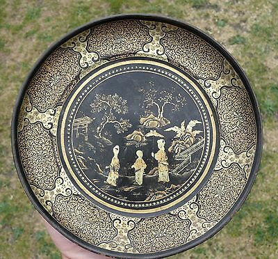 A Chinese Gilt Lacquer on Wood Dish, 19th/20th Century