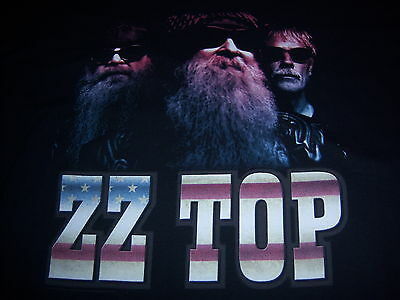 licensed ZZ TOP t shirt - 2014 TOUR - black - two sided - NEW NWOT - (L)