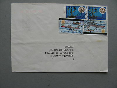 ANGOLA, cover to Switzerland, overprinted revalued stamp aeroplane, oil energy