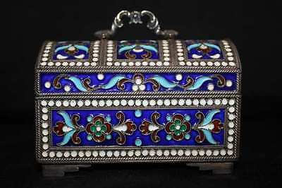 Russian Solid Silver and Enamel Large Salt Cellar