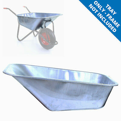 100L Universal Replacement Wheelbarrow Tray Galvanised Steel Wheel Barrow Pan