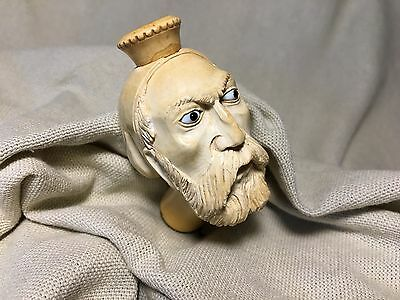 Vintage Meerschaum Pipe, great carving of man with glass eyes