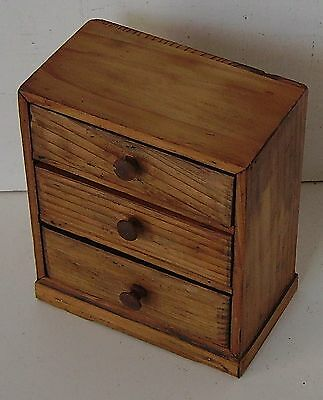 Miniature Pine Chest Of Drawers Novelty Trinket Box Vintage Wooden Storage