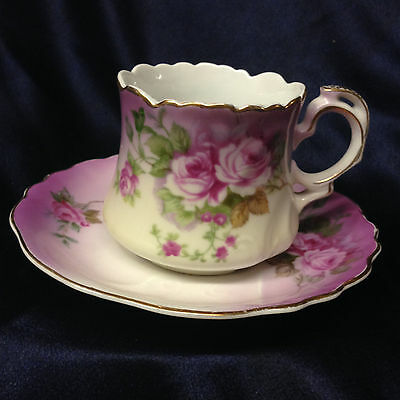 Lefton Heavenly Rose Cup & Saucer 8 Oz 2689 Purple & White Gold Trim