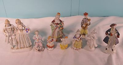 Lot Of 9 Porcelain Figurines Made In Occupied Japan, 1940's
