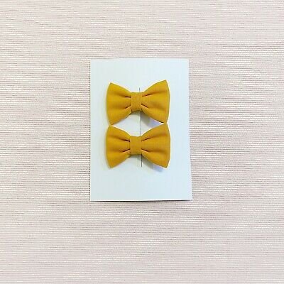 2x Small Bow /Baby Girl Hair Clip Toddler / Girl Mustard Fabric Bow  HC104