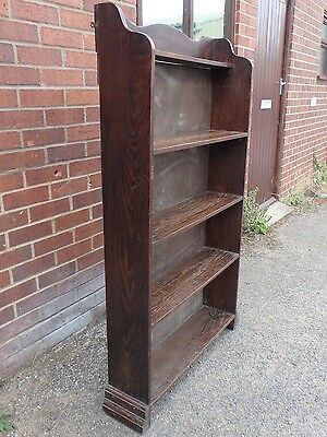 Edwardian antique Arts & Crafts solid fumed oak 5 shelf open library bookcase