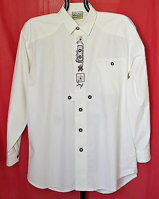 Authentic Brubig Tyrol Oktoberfest Dirndl Cotton Men's Shirt-Size:us 16.5/Eu L