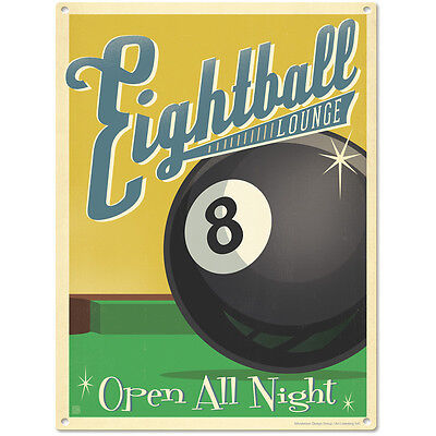 Eightball Lounge Steel Pool Sign Vintage Man Cave and Bar Decor 12x16