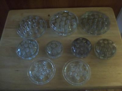 Vintage Glass Flower Floral Frogs - Lot of 9
