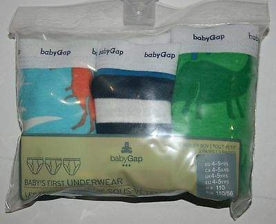 New Baby Gap Outlet 3 Pk Boys Briefs Underwear Size 4T 5T NWT Stripes Dinosaurs