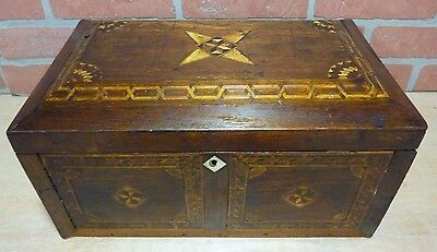 Antique Folk Art Turn of Century Marquetry Inlaid Wooden Box excessive detail