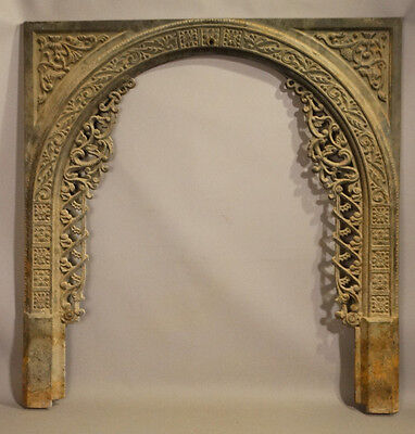 19thC Antique CAST IRON Aesthetic FIREPLACE SURROUND Old ARCHITECTURAL SALVAGE