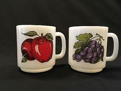 Vintage Glasbake Mugs Milk Glass Coffee Cups Lot of 2 Apples Grapes
