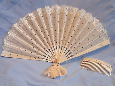 Antique Vtg Wedding Bridal Rhinestone Hair Comb & Hand Fan w lace trim ca 1910