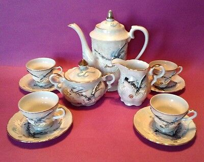 Dragon Ware - Pearl Gray Tea Set With 4 Demitasse Cups And Saucers - Japan