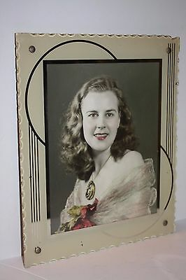 "Antique Art Deco Glass Picture Frame Back Painted 12"" x 10"""