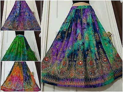 Tie Dye Boho Gypsy Hippy Long Sequin Party Skirt Dress 8 10 12 14 16 18 20 22 24