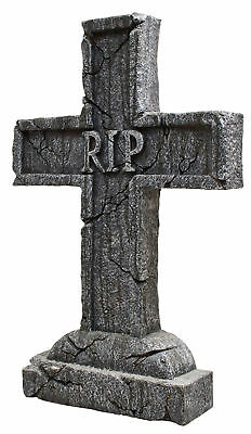 Rest In Peace Cross RIP Tombstone Grave Cemetery Halloween Graveyard Decoration