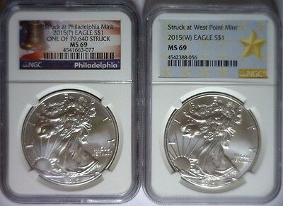 2015(P) & (W) Silver Eagle NGC MS69 Philly Bell & West Point Star 2-coin MS 69