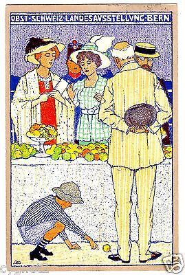 Postcard Swiss 1914 Bern Country Expo Fruit Display Artist-Signed Mangold