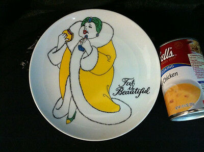 """Fat Is Beautiful Collectors 7 1/4"""" Plate By Fitz And Floyd Lady With Hamburger"""